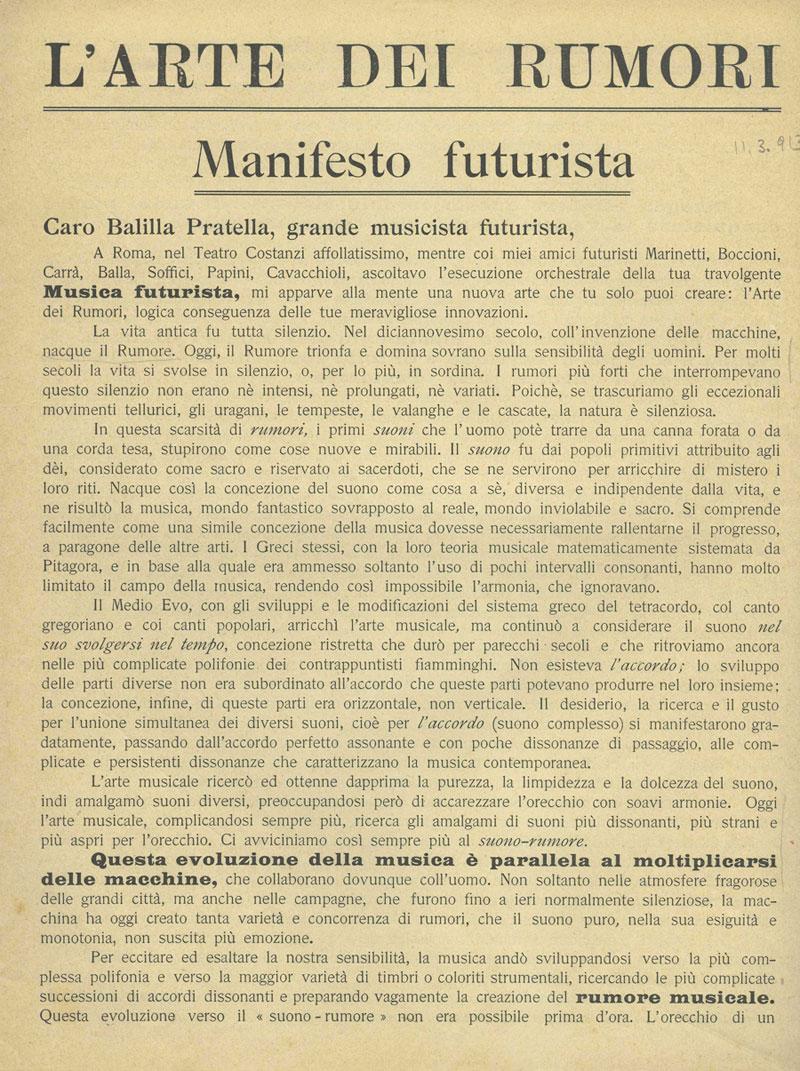 The Futurist Manifesto